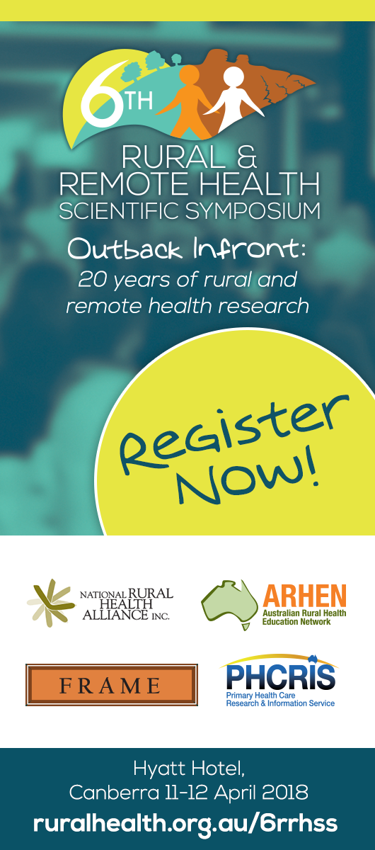 6th Rural and Remote Health Scientific Symposium Register Now