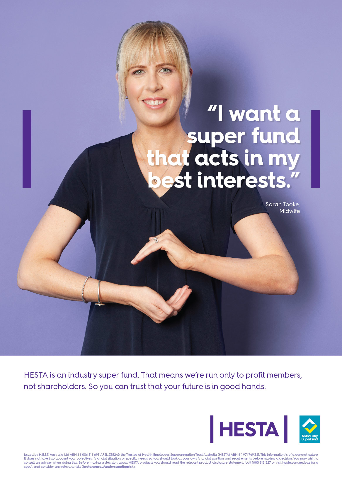 HESTA I want a super fund that acts in my best interests.