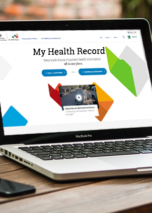 Myhealth website on laptop screen