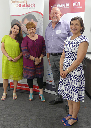 Forum convenors (L-R): Winny Henry, WAPHA Regional Manager; Linda Richardson, Country WA Primary Health Network General Manager; Chris Pickett, Rural Health West Northwest Regional Advisor; and Kristine Battye, workshop facilitator