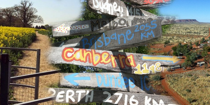 Collage of rural locations and roads with centre handmade state capital wooden sign.