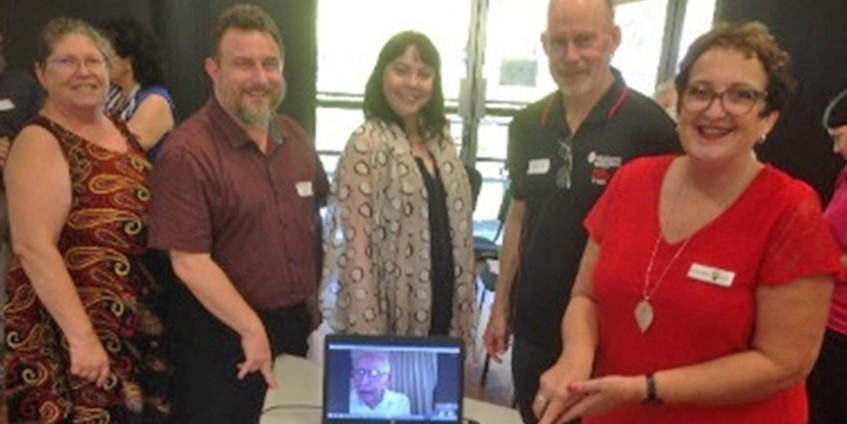 The project team, L to R: Kellie Johns, Stephen Anderson, Bronwyn Mathieson, David Lindsay, and Adele Baldwin. On the laptop screen is Ed