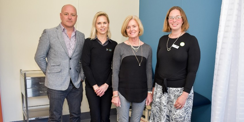 Doctors in Secondary Schools at work in Benalla – (l-r) Richard McClelland former Murray PHN Executive Director, Benalla Church Street surgery nurse Shellie Davis, Benalla P-12 College Principal Barbara O'Brien, Murray PHN Doctors in Secondary Schools program coordinator Penny Bolton