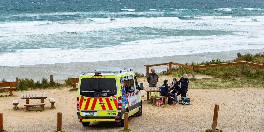 Paramedics at a coastal location