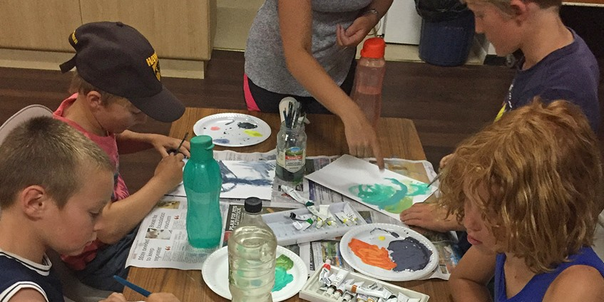 Children painting at the Wellbeing workshops on South Australia's Eyre Peninsular