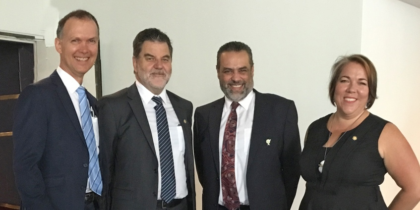 Professor Paul Worley National Rural Health Commissioner; Mark Diamond, National Rural Health Alliance CEO; Dr Ayman Shenouda, Rural GP RACGP Vice President and RACGP Rural Chair; and Tanya Lehmann, National Rural Health Alliance Chair at the Forum