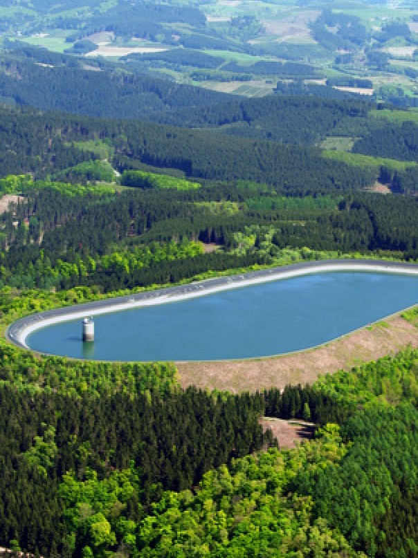Pumped Hydroelectric Storage Plant in Rönkhausen, Germany. High pondage; Capacity140MW for 5 hours (0.7GWh).