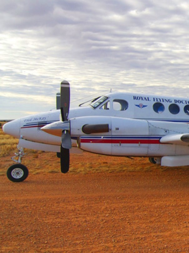 RFDS aircraft on red dirt runway