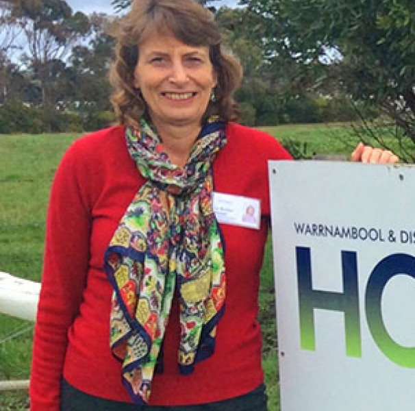 Warrnambool Hospice Manager Lu Butler outside the Hospice headquarters and volunteer training school