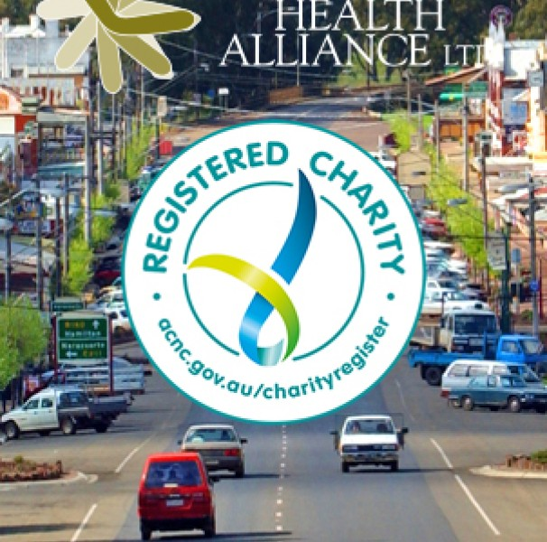 Rural town with NRHA and charity logo overlay