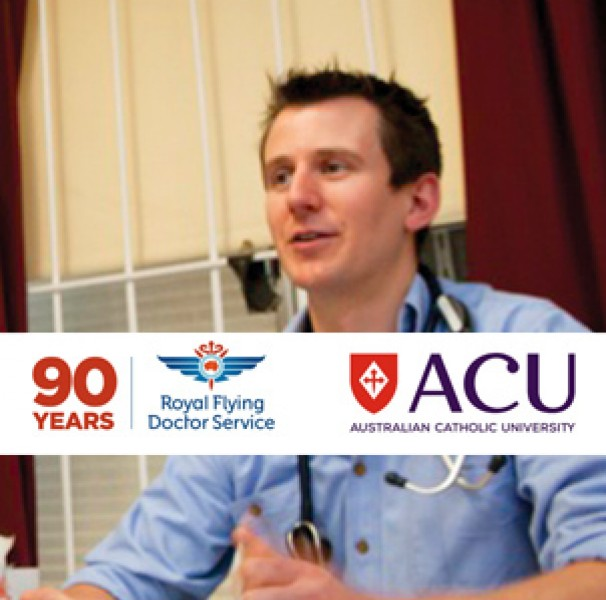 RFDS and ACU logo on photo of male doctor