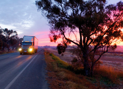 Road with truck
