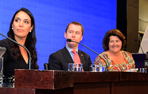 Janine Mohamed,  Martin Laverty and Geri Malone seated at the National Press Club in Canberra