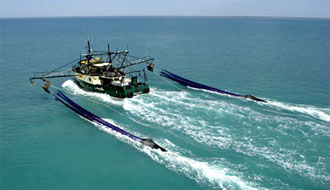 Trawler streaming its gear in the Northern Prawn Fishery
