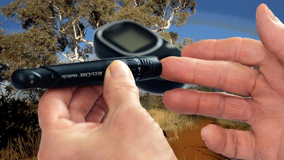Diabetes test on fingers
