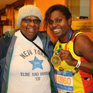 Elsie and her mum after finishing the New York Marathon 2014