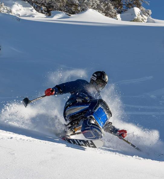 Sam Tait skiing