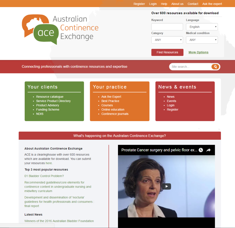 Continence information in one online location screen snapshot