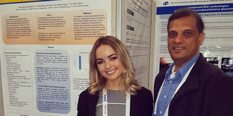 Sascha Spencer with her RAMUS mentor Dr Ashish Agar at the World Glaucoma Conference in Finland.