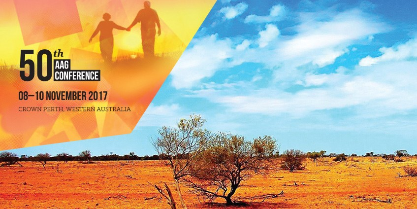 Older couple holding hands graphic and outback landscape photo