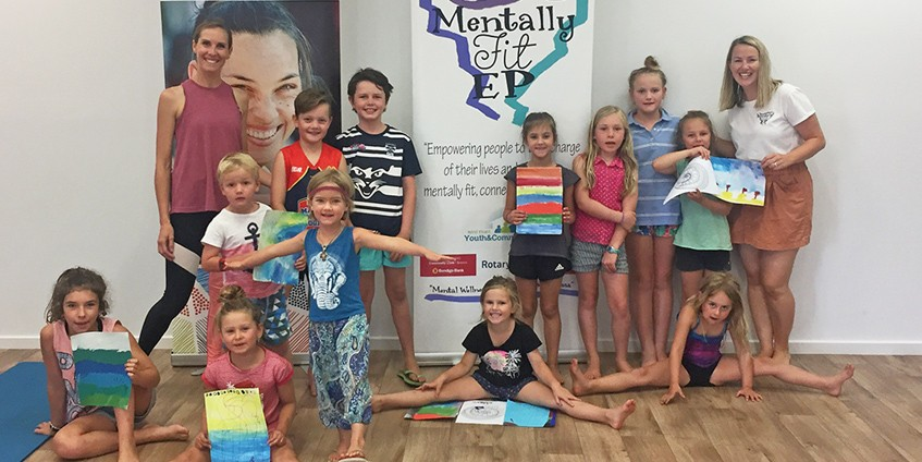 Children and workshop hosts at the Wellbeing workshops on South Australia's Eyre Peninsular