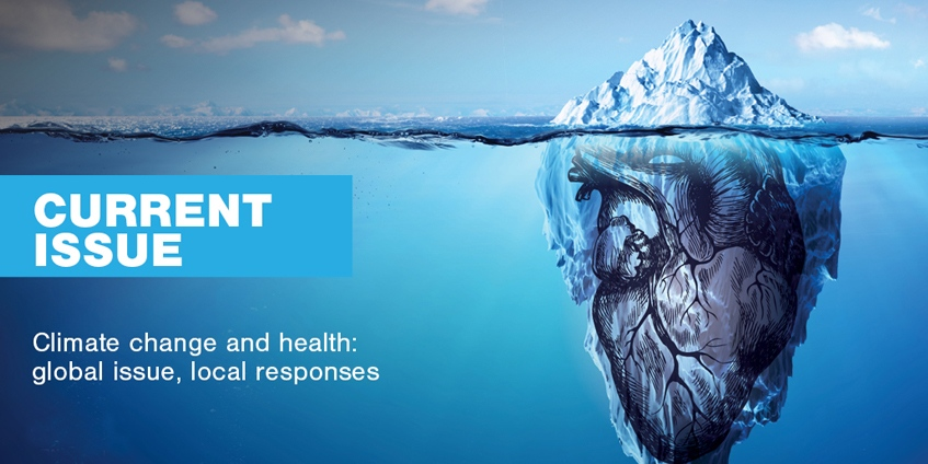 Current Issue Climate change and health global issue local response.Iceberg image with heart