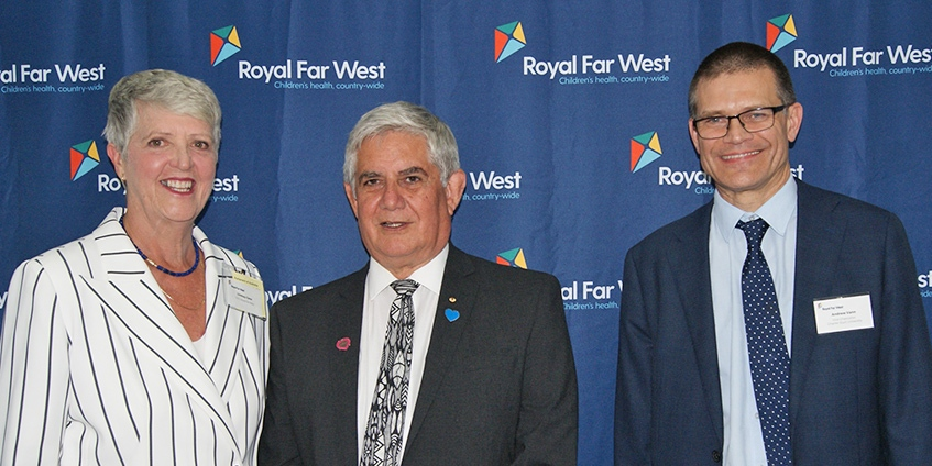 (L-R) Lindsay Cane, Royal Far West CEO; Ken Wyatt, Minister for Aged Care and Indigenous Health; Andy Vann, Charles Sturt University Vice-Chancellor