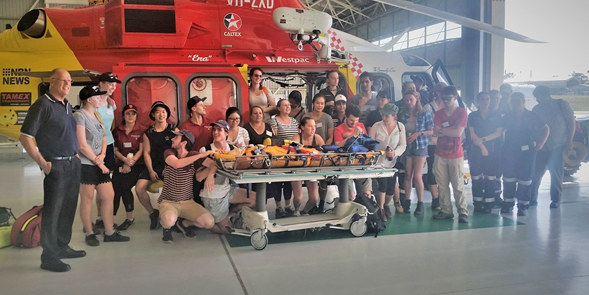 group photo of helicopter training excercise