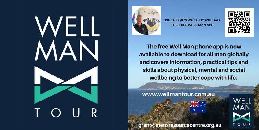 Information about the Well Man app. Images: Men's Resource Centre.