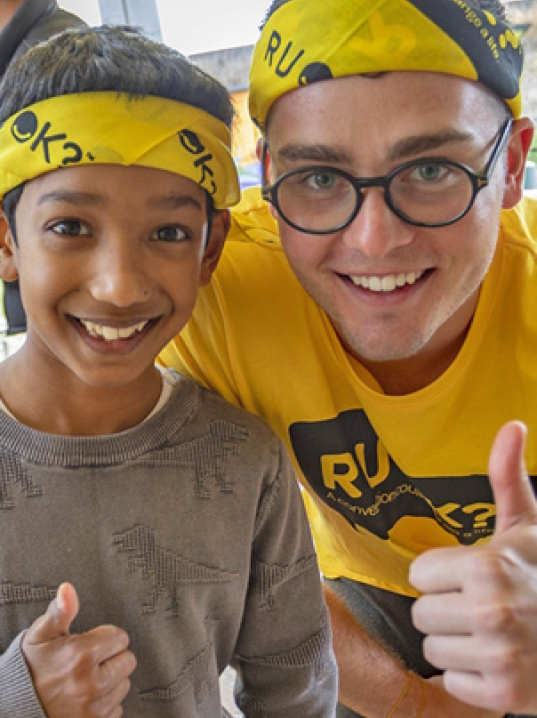 boy and young man with RUOK bandanas