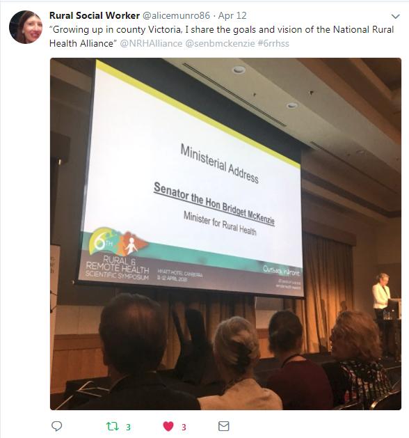 Rural Health Minister Bridget McKenzie addressing the #6rrhss